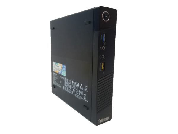 This photo shows a Lenovo ThinkCentre M73 from the left side
