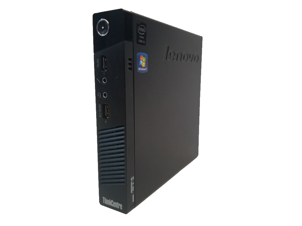 This photo shows the right side of a Lenovo ThinkCentre M73