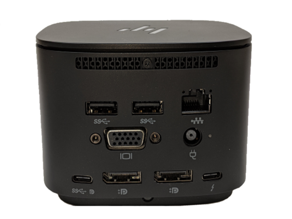 This photo shows the back of an HP Thunderbolt Dock
